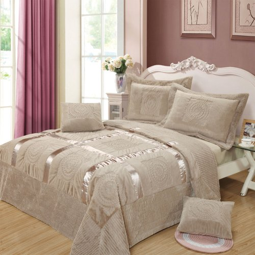 Dada Bedding Yg1002T Mushy Ribbon Paisley 3-Piece Bedspread Set, Twin/Single, Grey front-724818