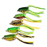 5pcs Toad Soft Plastic Hollow Fishing Lure Crankbait Hooks Bass Bait Frog 5
