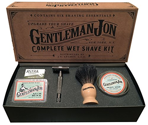 Gentleman Jon Complete Wet Shave Kit | Includes 6 Items:  Safety Razor, Badger Hair Brush, Alum Block, Shave Soap, Stainless Steel Bowl and Astra Razor Blades (Mens Wet Shave compare prices)