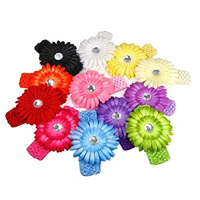 Best Cheap Deal for TOOGOO(R) A Dozen of Assorted Colors Daisy Flower Clip Crocheted Baby Headbands / Hair Clips Mixed Color Lot for Girls,Pack of 12pcs from Toogoo - Free 2 Day Shipping Available
