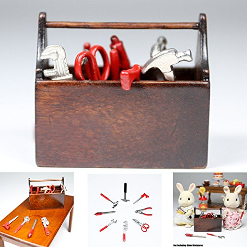 1:12 8Pcs Alloy Tools In Wood Tool Box Miniature Set Doll House Accessories Gift