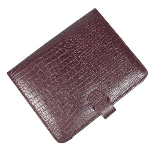 Real Leather Executive MAROON CROCODILE SKIN LOOK IPAD 1 & 2 COVER Folio Wallet-FREE SHIPPING