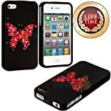 myLife (TM) Pink Butterfly of Flowers Series (2 Piece Snap On) Hardshell Plates Case for the iPhone 4/4S (4G)... by myLife Brand Products
