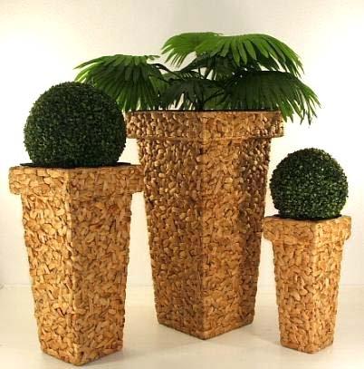 """Blumenkübel Pflanzkübel Pflanzgefäße Übertöpfe Blumentöpfe aus Wasserhyazinthe 90/70/50 cm, """"Mega Design"""",Natur, FH"""