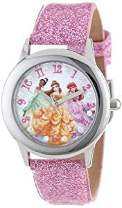 Disney Kids' W000408 Disney Tween Glitz Princess Stainless Steel Pink Glitter Leather Strap Watch