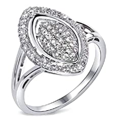 buy Beydodo 18K Gold Plated Women'S Ring (Promised Rings) Hollow Oval Cut Cubic Zirconia Size 6 White