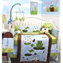 Soho Froggies Party Baby Crib Nursery Bedding Set 13 Pcs Included Diaper Bag With Changing Pad Bottle Case