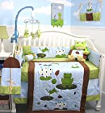 SoHo Froggies Party Baby Crib Nursery Bedding Set 13 pcs included Diaper Bag with Changing Pad &#038; Bottle Case