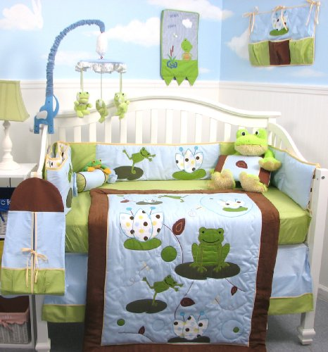 SoHo Froggies Party Baby Infant Crib Nursery Bedding Set 10pcs **Reversible Into Morden Blue & Brown Polka Dot Designs **