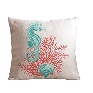 "ilkin Cotton and Flax Ocean Theme Decorative Cushion cover Case 18"" x 18"" Square Shape (red-sea horse) from ilkin"