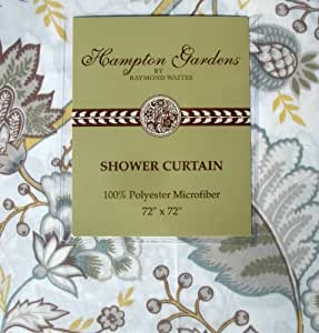 Raymond Waites Hampton Gardens Thalia Yellow Brown Floral Fabric Shower Curtain