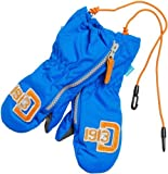 Didriksons Biggles Kids Childrens Boy Girls Babies Waterproof and Windproof Zip Mittens (Mitts) (Bright Blue, 2 4 years)