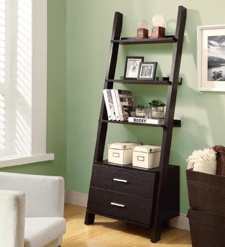 Monarch 69 in. Ladder Bookcase  2 Storage Drawers
