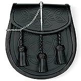 Mens Scottish Celtic Embossed Pin Fastenend Leather Kilt Sporran and Chain Strap