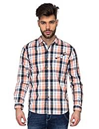 Blumerq Men White Orange Casual Checks Shirt