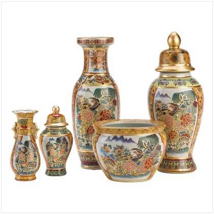 Asian Palace Vase Set