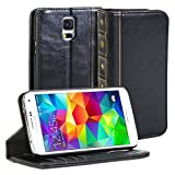 GMYLE Galaxy S5 Book Case Vintage for Samsung Galaxy S5 - Black Classic [Crazy Horse Pattern] [PU Leather] Book style Flip Slim Case Cover