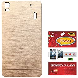 Tidel Golden Durable Aluminium Brushed Metallic Back Cover For Lenovo A7000 With Tidel Screen Guard