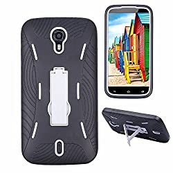 Premium Rugged Heavy Duty Drop Proof Case With Kickstand For BLU Studio 6.0 HD D650a (it doesn't fit BLU Studio 6.0 LTE Y650Q)-Black White