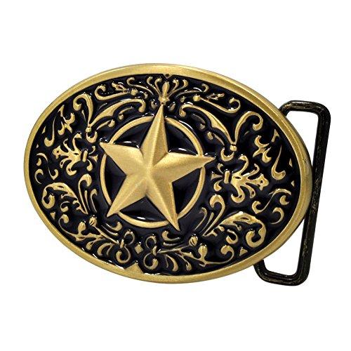 Buckle Rage Adult Womens Ornate Western Lone Star Oval Belt Buckle Black Bronze