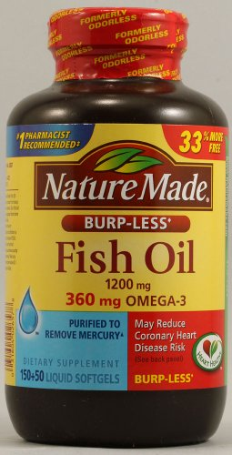 Nature Made Burp-Less Fish Oil & Omega 3, 200 Ct (Pack Of 2)