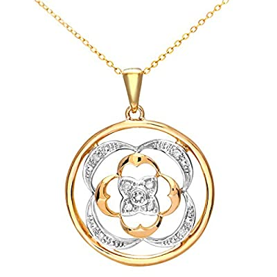Ariel 9ct Yellow Gold Diamond Fancy Circular Pendant + 46cm Trace Chain