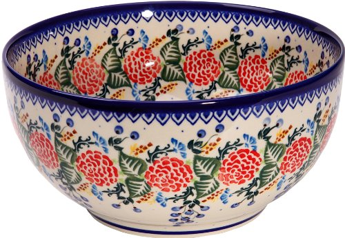 Polish Pottery Ceramika Boleslawiec 0411/280 Royal Blue Patterns with Red Rose Motif Bowl 23, 10 Cup