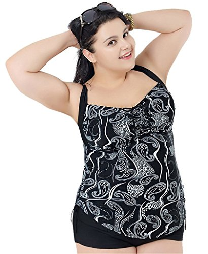 Women's Plus Size Leopard Printed 2 Pieces Tankini Top & Boyshorts Swimsuits 3XL