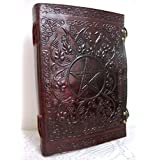 Phoenix Craft 10x7 Embossed Celtic Pentacle Journal Bound Handmade Leather Diary Gift Book Sketchbook (Color: BROWN)