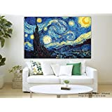 Painting || Paintings || Canvas Painting Canvas Painting - The Starry Night - Vincent Van Gogh - Modern Art || Framed Painting For Living Room || Framed Painting For Bedroom (Length 8 Inches X Width 14 Inches)