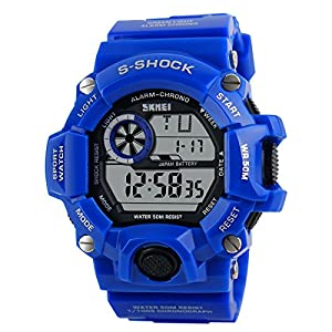 Water-resistance and Shockproof Watches Casual Men's Watches Students Boys Girls Sports Watch - Blue