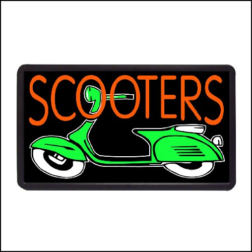 """Scooters Backlit Illuminated Electric Window Sign - 13""""X24"""""""