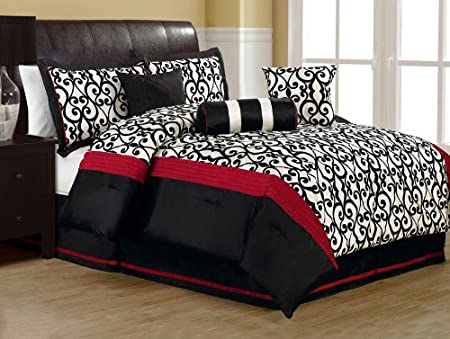 Red white and black bedding sets r wall decal for Red and black queen forter sets