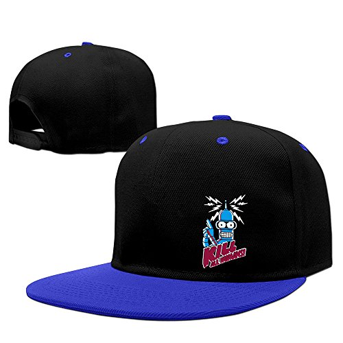 ROCE Men's Bender Kill All Humans Futurama Terminating Fitted Hats RoyalBlue One Size