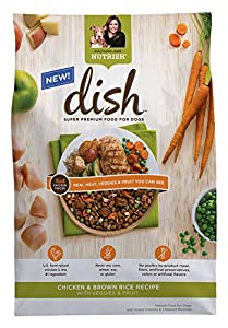 Rachael Ray Nutrish DISH Natural Dry Dog Food, Chicken and Brown Rice Recipe with Veggies and Fruit, 3.75 Pound