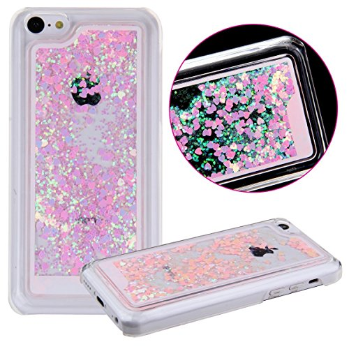 iphone 5C Case, B2BY365 Cool Quicksand Moving Stars Bling Glitter Floating Dynamic Flowing Hard Protective Case Liquid Cover for iphone 5C+0.3mm Tempered Glass Screen Protector (Love-pink) (Iphone 5c Protective Glitter Case compare prices)