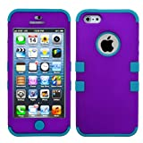 Tropical Teal Silicone Soft Skin and Solid Grape Purple Rubber Feel Hard TUFF Design Hybrid Cell Phone Protector Case Cover for Apple iPhone 5