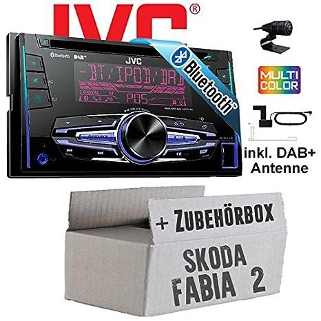Skoda Fabia 2 - JVC KW-DB92BT - 2DIN USB Bluetooth DAB+ Autoradio inkl. DAB+ Antenne - Einbauset