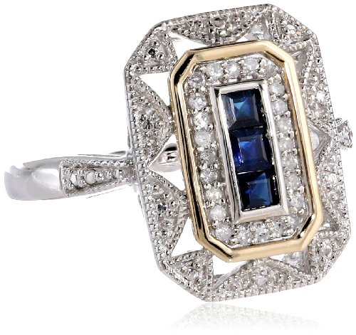 S&G Sterling Silver and 14k Yellow Gold Blue Sapphire and Diamond-Accent Art Deco Style Ring (0.11 cttw, I-J Color, I3 Clarity), Size 7