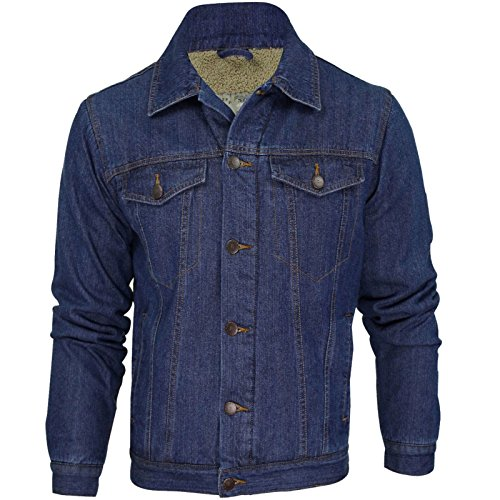 Uomo Giacca Di Jeans by Attire Invernale in Lana Foderato (Mid Blu) S