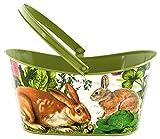 Michel Design Works Decorative Tin Oval Basket, Large, Garden Bunny