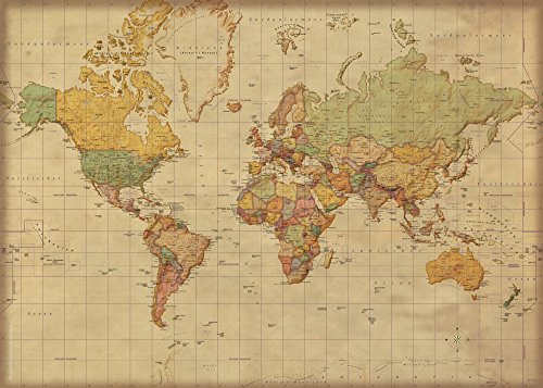landkarten giant xxl poster weltkarte antik deutsche version bildungsposter 1 30 mio. Black Bedroom Furniture Sets. Home Design Ideas