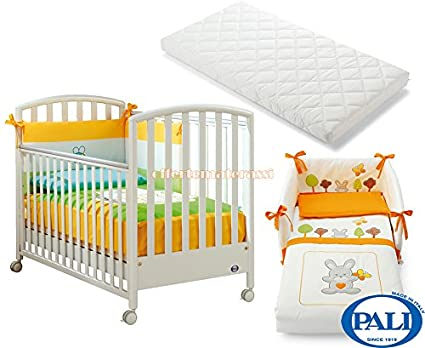 Lettino Pali Ciak Bianco + Set Tessile Smart Bosco Arancio + Materassino Evolution