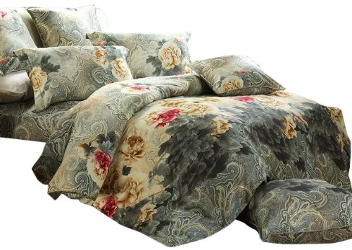 Kess InHouse Chelsea Victoria Peacock Feather King Cotton Duvet Cover 104 x 88 104 x 88