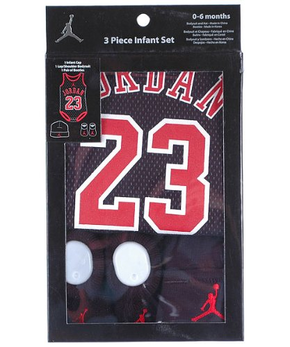 Michael Jordan 3-Piece Infant Set Size 0-6 Months In Black and Red at Amazon.com