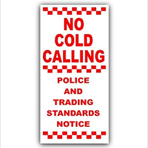 Under Doorbell or Below Knocker - No Cold Callers,Salesman Calling Warning House Sticker-Self Adhesive Vinyl Door Bell Sign
