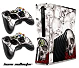Designer Skin for XBOX 360 SLIM System & Remote Controllers -Bone Collector- WHITE