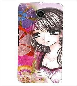 PrintDhaba Cute Animated Girl D-3600 Back Case Cover for MOTOROLA GOOGLE NEXUS 6 (Multi-Coloured)