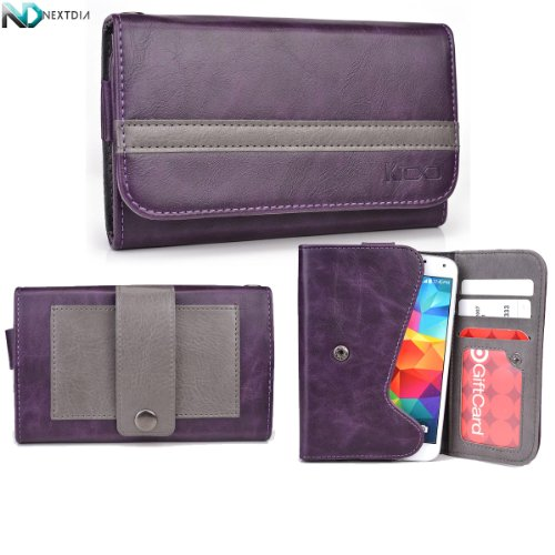 Yezz Andy A4.5 Phone Wallet With Belt Attachment Dark Plum Purple Gunmetal Gray With Credit Card Holder & Nd Velcro Cable Organizer