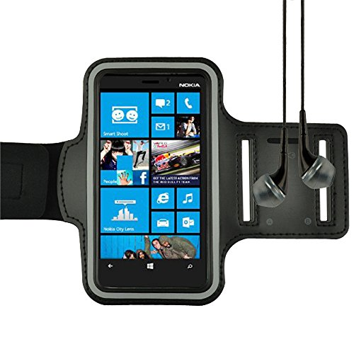 Black Sports Armband For Nokia Lumia 929 / Nokia 520 / Nokia 521 / Samsung Galaxy S4 / Lg Nexus 5 + Vangoddy Headphone With Mic , Black